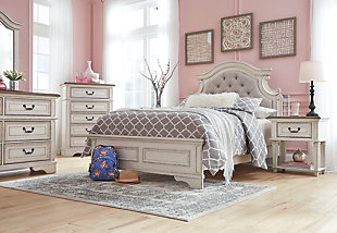 Realyn Full Panel Bed, Chipped White, large