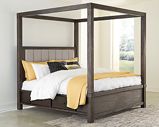 Dellbeck Queen Canopy Bed with 4 Storage Drawers, Dark Brown, rollover