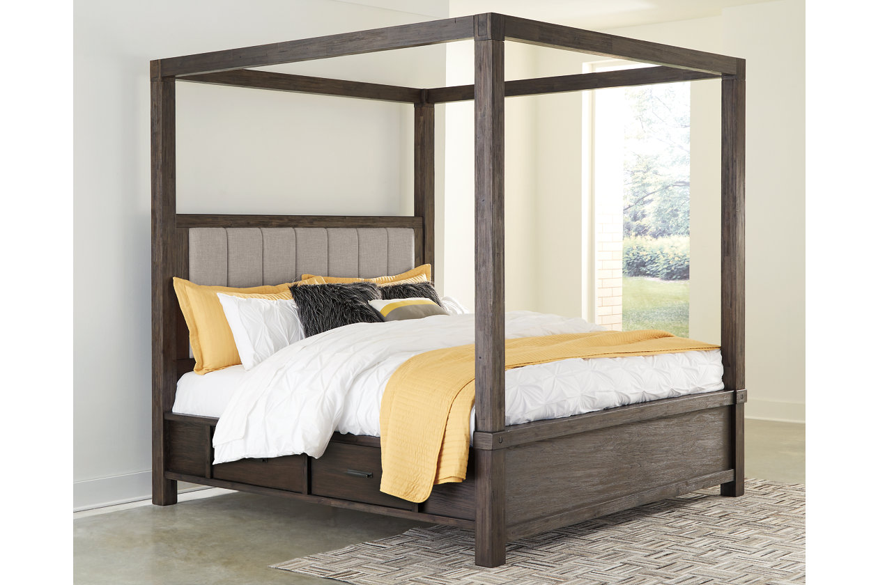 Dellbeck Queen Canopy Bed With 4 Storage Drawers Ashley