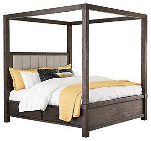 Dellbeck Queen Canopy Bed with 4 Storage Drawers, Dark Brown, large