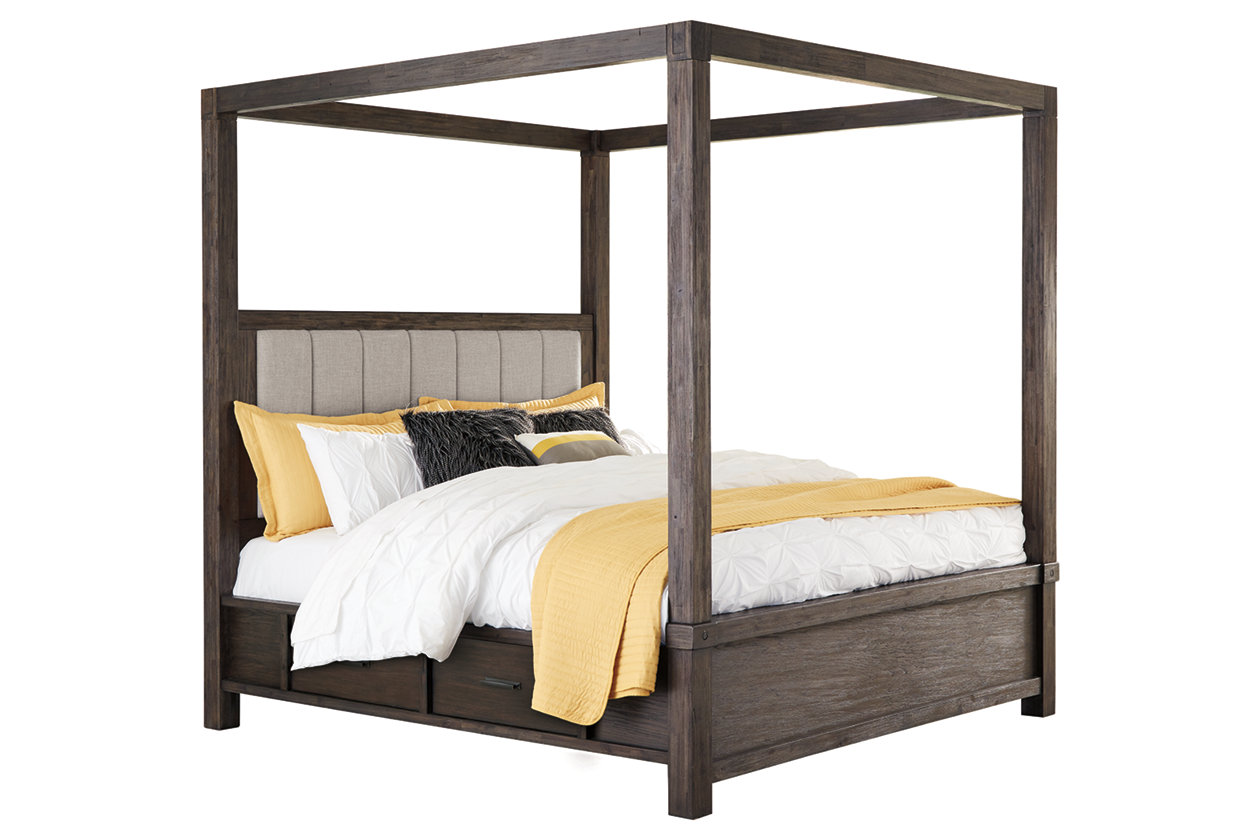 Dellbeck Queen Canopy Bed with 4 Storage Drawers | Ashley ...