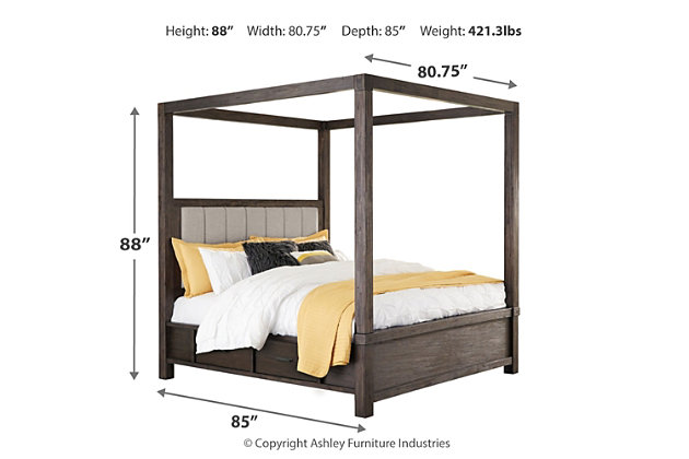 Dellbeck California King Canopy Bed with 4 Storage Drawers, Dark Brown, large