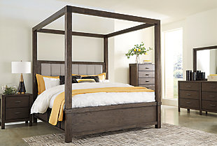 Dellbeck King Canopy Bed with 4 Storage Drawers, Dark Brown, large