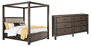 Dellbeck Queen Canopy Bed with 4 Storage Drawers with Dresser, Dark Brown, large