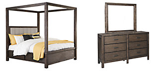 Dellbeck Queen Canopy Bed with 4 Storage Drawers with Mirrored Dresser, Dark Brown, large