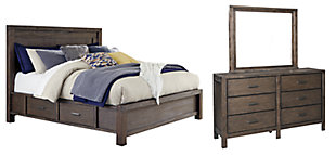 Dellbeck Queen Panel Bed with 4 Storage Drawers with Mirrored Dresser, Dark Brown, large