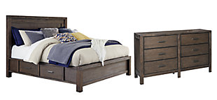 Dellbeck Queen Panel Bed with 4 Storage Drawers with Dresser, Dark Brown, large