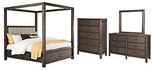 Dellbeck Queen Canopy Bed with 4 Storage Drawers with Mirrored Dresser and Chest, Dark Brown, large