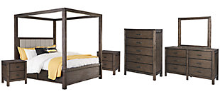 Dellbeck Queen Canopy Bed with 4 Storage Drawers with Mirrored Dresser, Chest and 2 Nightstands, Dark Brown, large