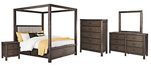 Dellbeck Queen Canopy Bed with 4 Storage Drawers with Mirrored Dresser, Chest and Nightstand, Dark Brown, large