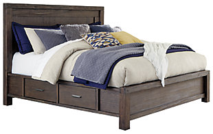 Dellbeck Queen Panel Bed with Storage, Dark Brown, large