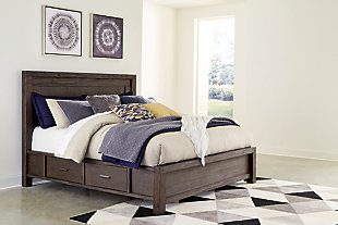 Dellbeck Queen Panel Bed with 4 Storage Drawers with Mirrored Dresser and Chest, Dark Brown, large