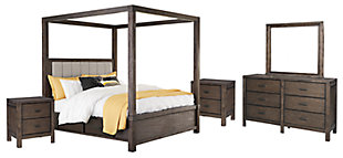 Dellbeck Queen Canopy Bed with 4 Storage Drawers with Mirrored Dresser and 2 Nightstands, Dark Brown, large
