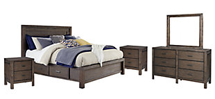 Dellbeck Queen Panel Bed with 4 Storage Drawers with Mirrored Dresser and 2 Nightstands, Dark Brown, large