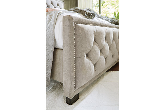 Bellvern Queen Upholstered Bed, Gray, large