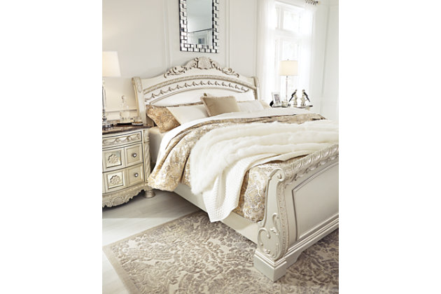 Cassimore Queen Sleigh Bed, Pearl Silver, large