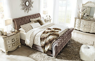 Cassimore Queen Upsholstered Bed, Pearl Silver, large