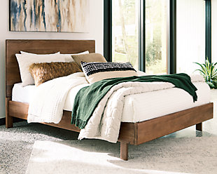Isanti Queen Panel Bed, Light Brown, rollover