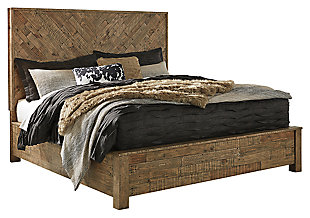 Grindleburg Queen Panel Bed, Light Brown, large