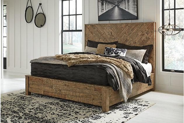 Grindleburg Queen Panel Bed, Light Brown, large