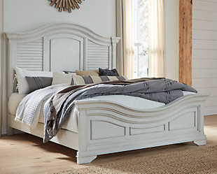 Teganville Queen Panel Bed, White, rollover
