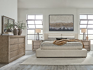 Langford Queen Upholstered Bed with Mirrored Dresser and Chest, Light Grayish Brown, rollover