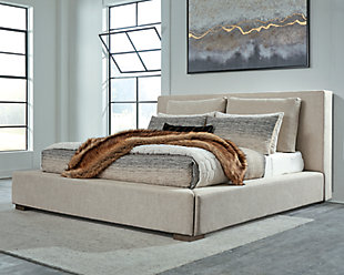 Langford Queen Upholstered Bed, Light Grayish Brown, rollover