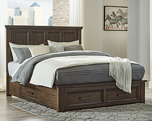 Johurst Queen Panel Bed with 4 Storage Drawers, Grayish Brown, rollover