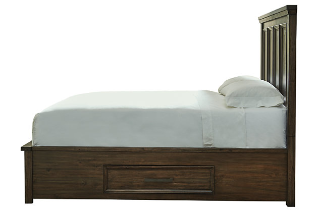 Johurst Queen Panel Bed with 4 Storage Drawers, Grayish Brown, large