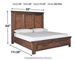 Royard California King Panel Bed with 2 Storage Drawers, Warm Brown, large