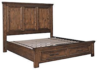 Royard Queen Panel Bed with Storage, Warm Brown, large