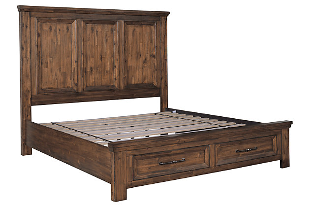 Royard Queen Panel Bed with 2 Storage Drawers, Warm Brown, large