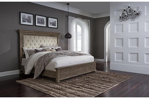 Johnelle Queen Upholstered Panel Bed, Beige, large