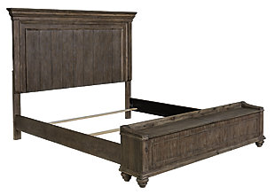 Johnelle Queen Panel Bed with Storage Bench, Gray, large