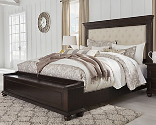 Brynhurst Queen Upholstered Bed with Storage Bench, Dark Brown, rollover