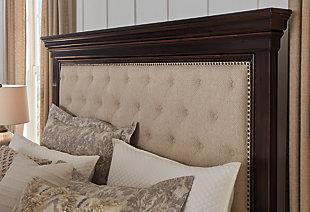 Brynhurst Queen Upholstered Bed with Storage Bench, Dark Brown, large