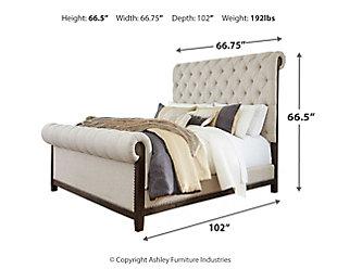 Hillcott Queen Upholstered Bed, Dark Brown, large