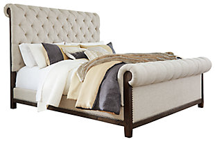 Hillcott Queen Upholstered Bed, Dark Brown, large