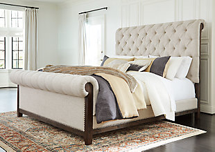 Hillcott Queen Upholstered Bed, Dark Brown, rollover