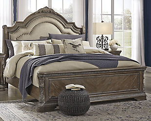 Charmond Queen Upholstered Sleigh Bed, Brown, rollover