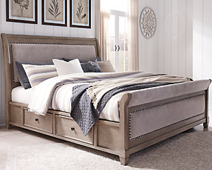 Challene Queen Upholstered Bed with 4 Storage Drawers, Gray, rollover