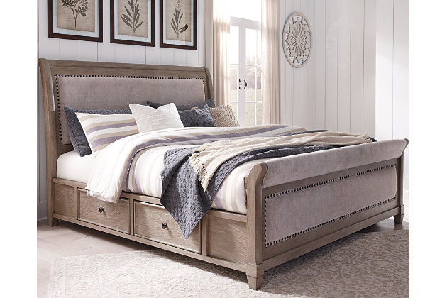 Challene Queen Upholstered Bed With 4, Ashley Furniture Bed Frames Queen