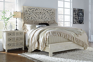 Bantori Queen Panel Bed, White, large