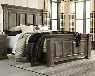 Wyndahl Queen Panel Bed, Rustic Brown, large