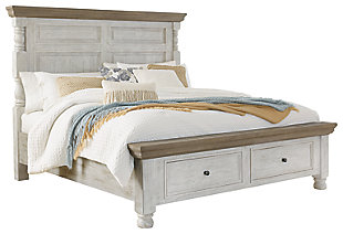 Havalance Queen Poster Bed with Storage, White/Gray, large