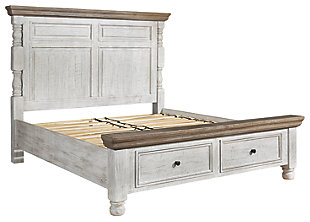 Havalance Queen Poster Bed with 2 Storage Drawers, White/Gray, large