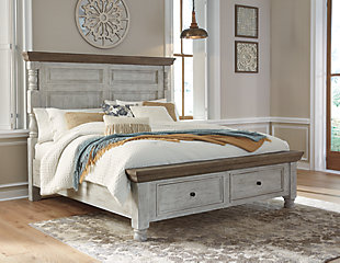 Havalance Queen Poster Bed with 2 Storage Drawers with Dresser, White/Gray, large