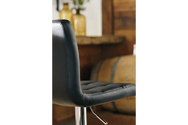 Bellatier Adjustable Height Bar Stool, Black/Chrome Finish, large