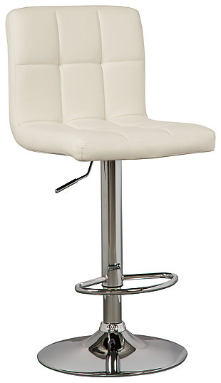 Bellatier Adjustable Height Bar Stool, Bone, large