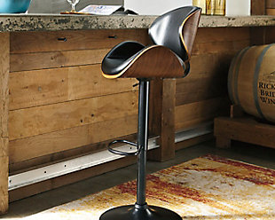 Bellatier Adjustable Height Bar Stool, Brown, rollover
